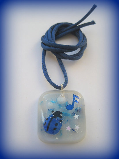 Blue Ladybug Resin Pendant