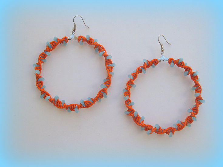 Orange-Light Blue Spiral DNA Hoops