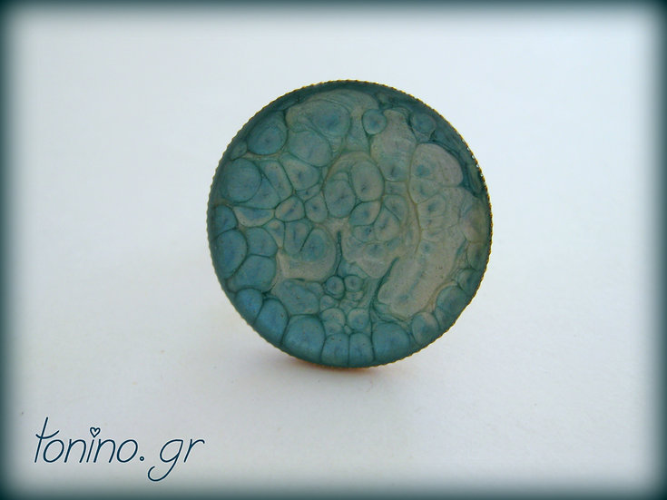 Moon Resin Ring - Turquoise / Beige