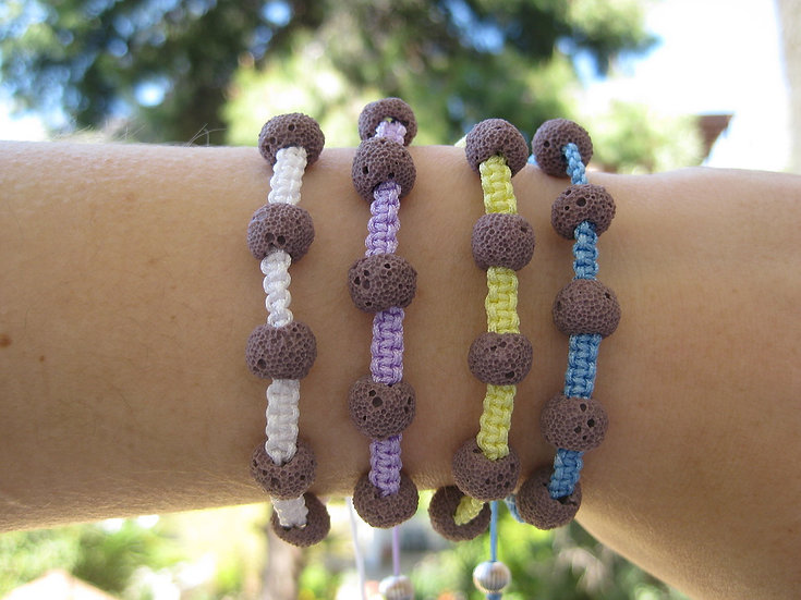 Purple Lava Stone Macrame Bracelet