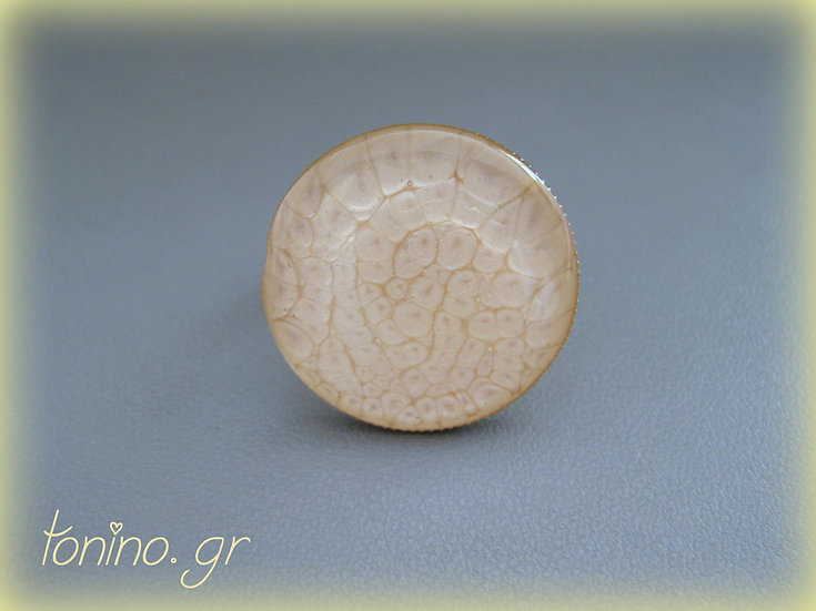 Moon Resin Ring - Beige / Gold