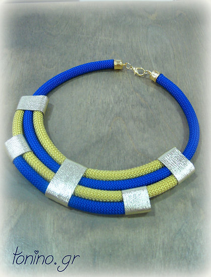 Electric Blue-Gold  x4 Statement Necklace