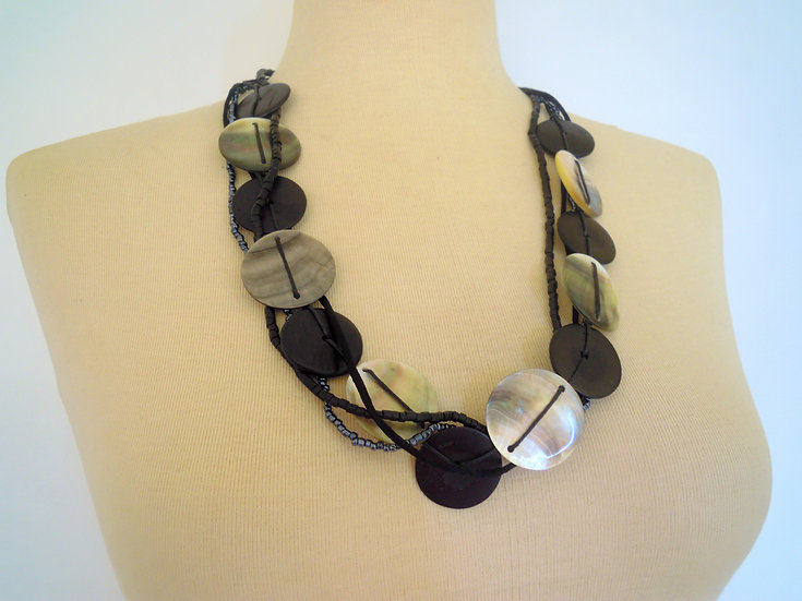 Black Disks Long Necklace