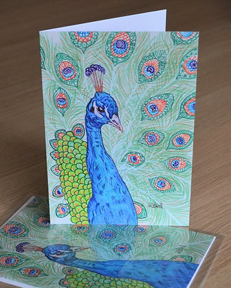 Patterned Peacock Greeting Card