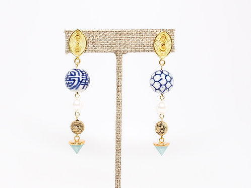 Chinoiserie Mismatched Dangle Earrings