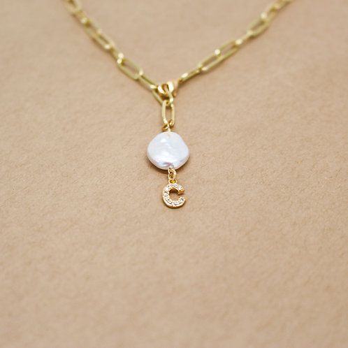 Initial Coin Pearl Necklace