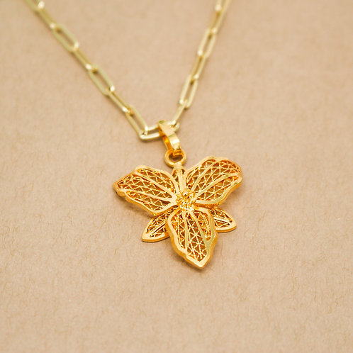 Orchid Filigree Link Necklace