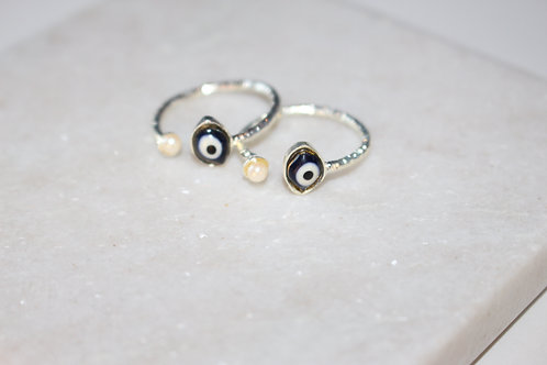 Evil Eye Thin Stacking Rings