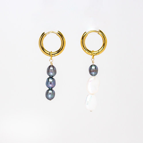 Mismatched Baroque Pearl Mini Hoops