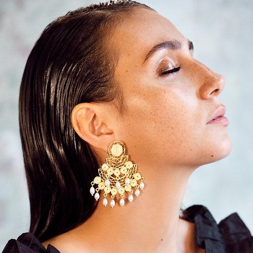 Gaby Filigree Pearl Earrings