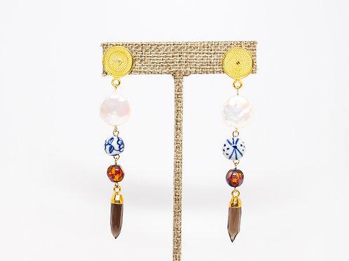 Filigree Pearl Smoky Quartz Earrings