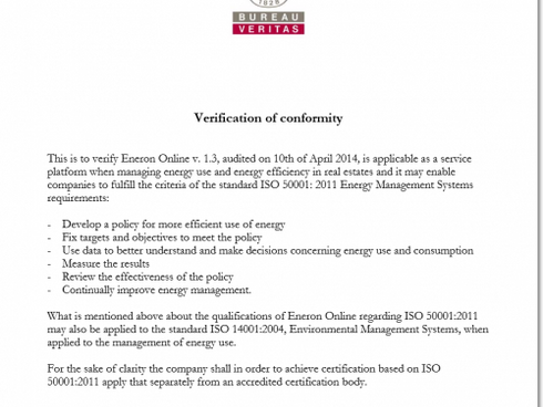 EnerOnline platform has received a verification based on ISO 50001: 2011 perhaps as the first compan