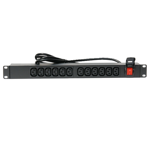 PRSi 1U Rack Mount 12x C13 output sockets and C20 input PMSHS1UIEC12CI-C20