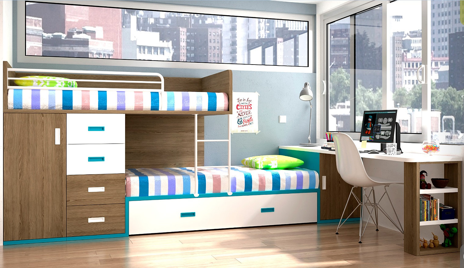 lits superposes en d cal sur mesure. Black Bedroom Furniture Sets. Home Design Ideas