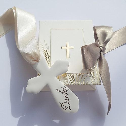 Gastgeschenk Kreuz Gold personalisiert