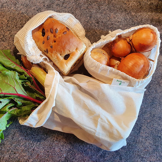Organic Produce Bags & Bread Bag - Pack of 3