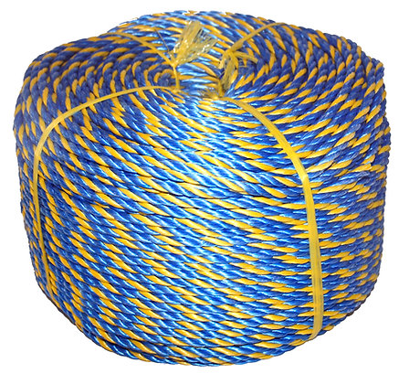 Side view of yellow and blue twisted rope