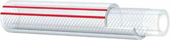 Close view red and white PVC hose