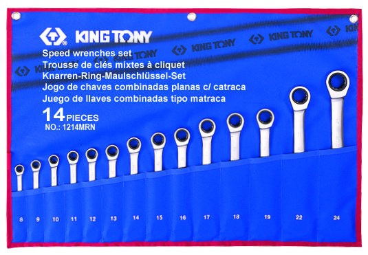 Spanner Set, Open End & Ratchet Ring, Metric, 14 Piece