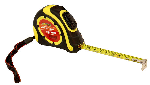 Side view of black and yellow 3 metre tape measure