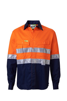 Front of Orange/Navy Endurite 155gsm Hi-Vis Work Shirt