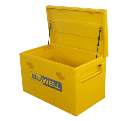 side view yellow steel site box lid open