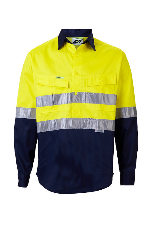 Hi-Vis Taped Closed Front Work Shirt - Regular Weight