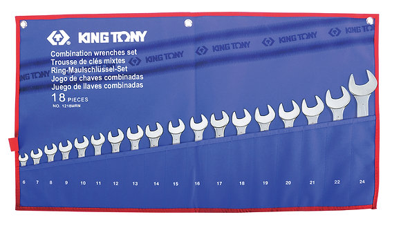 Spanner Set, Open End & Ring, Metric, 18 Piece