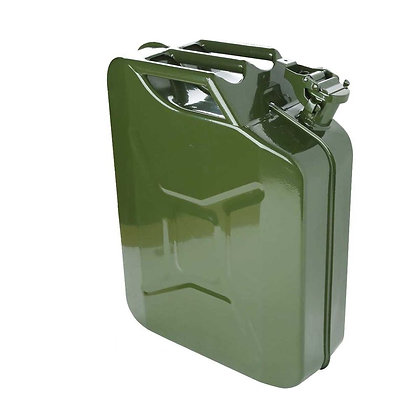 Side view of green jerry can with handle