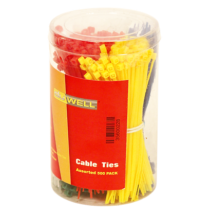 Side view of large pack of multi coloured cable ties