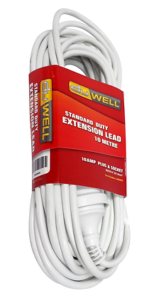 Side view of white extension lead in packaging