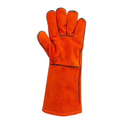 palm view pair red leather welding gloves