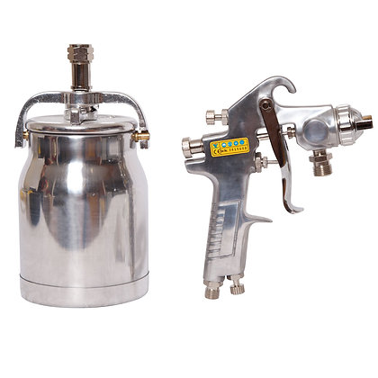 side view of paint spray gun and pot