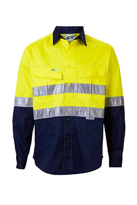 Front of regular weight yellow/navy work shirt Endurite