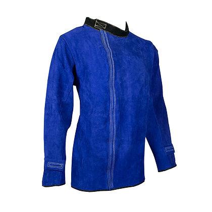 side view blue leather welders jacket