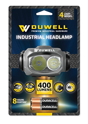 front view Duwell head lamp in packaging