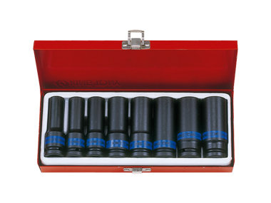 "Deep Impact Socket Set,1⁄2"" Drive, Metric, 8 Piece"