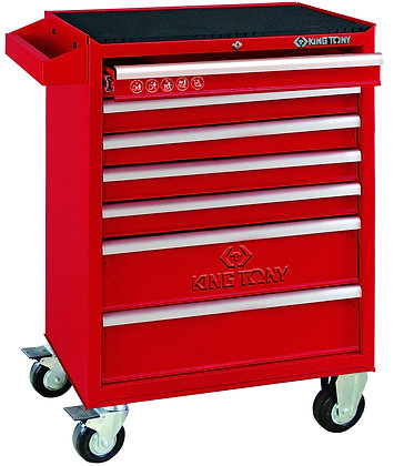 front view red 7 draw tool trolley cabinet