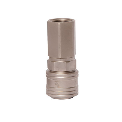 Side view of nickel plated air hose coupling