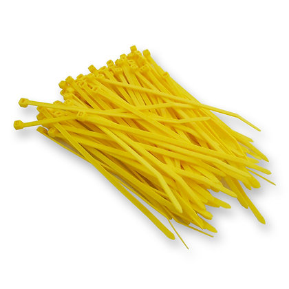 Side view of group of yellow cable ties