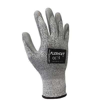 back view grey cut 5 pu coated glove