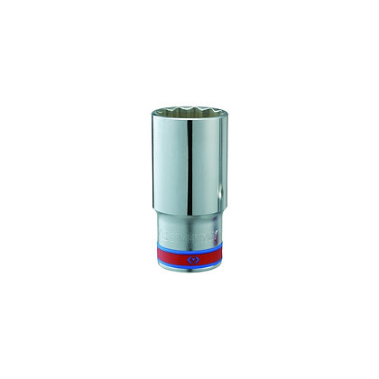 "Chrome Socket, Deep - 1/2"" Drive, 12 Point, Imperial"