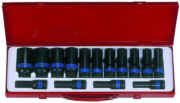 "Deep Impact Socket Set, 1⁄2"" Drive, Metric, 15 Piece"