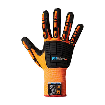 back view orange impact resistant gloves
