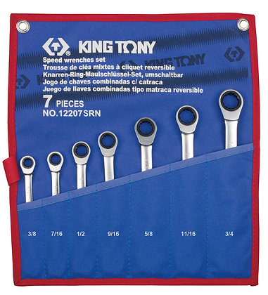 Spanner Set, Open End & Ratchet Ring, Imperial, 7 Piece