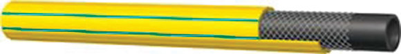 Close view yellow and green PVC hose