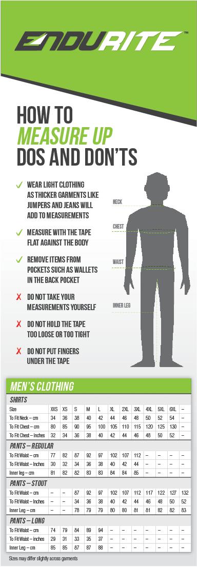 Mens Workwear Sizing Chart