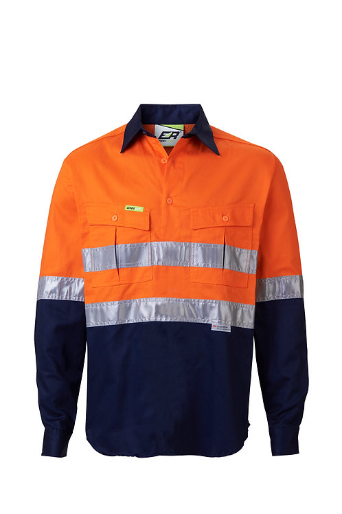 Hi-Vis Taped Closed Front Work Shirt - Lightweight