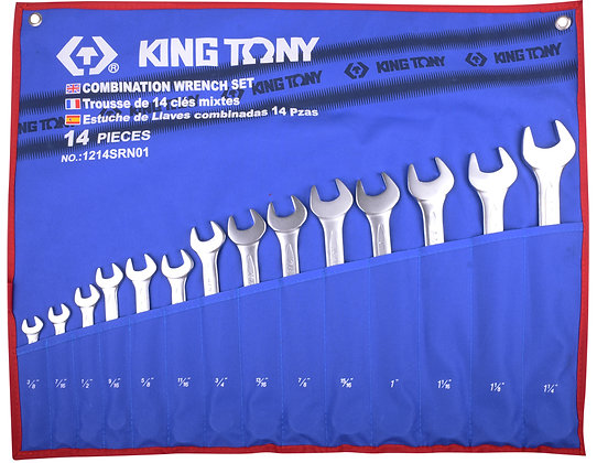 Spanner Set, Open End & Ring, Imperial, 14 Piece
