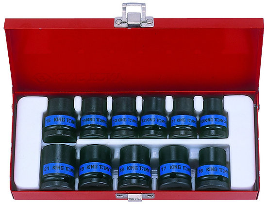 "Impact Socket Set, 1/2"" Drive, Metric, 11 Piece"